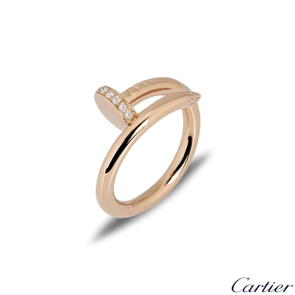 Cartier Rose Gold Diamond Juste Un Clou Ring Size 52 B4094800